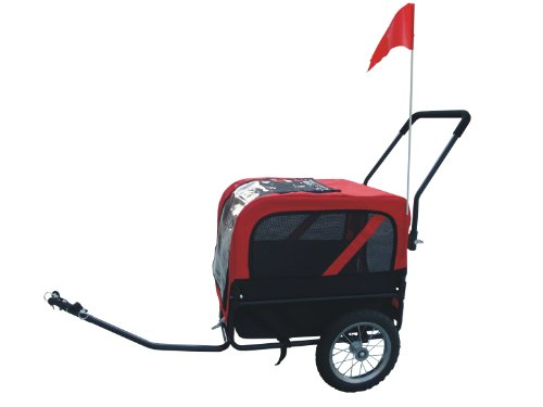MDOG2 MK1484 Comfy Pet Bike Trailer/Jogging Stroller, Small, Red/Black