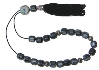 Worry Beads with Tassel - Greek Map - Greece - Black and White Swirl