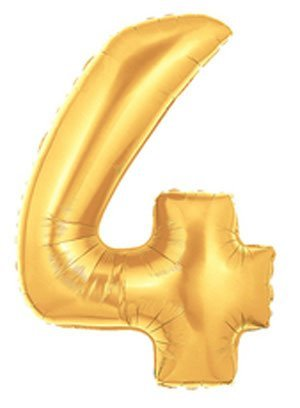 "Single Source Party Suppies - 40"" Megaloon Gold Number 4 Mylar Foil Balloon - 1"