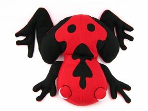Hot PETS, Frog. Black-Red. Stuffed animal. Fair Trade, Natural. Handmade by micro-sensations
