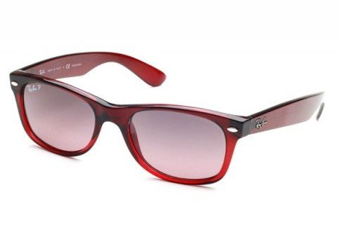 Ray Ban RB2132 New Wayfarer Sunglasses - 843/77 Brown Gradient Antique (Crystal Polarized Blue Gradient Pink Lens) - 55mm