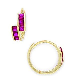 14ct Yellow Gold Red CZ Fancy Hoop Hinged Earrings - Measures 12x13mm