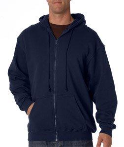 Bayside Adult Full Zip Hooded Sweatshirt - NAVY - 3XL