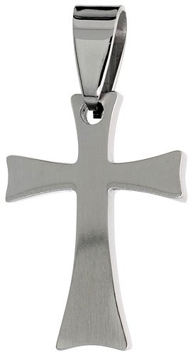 Stainless Steel Cross Pendant 1 inch tall, w/ 30 inch Chain