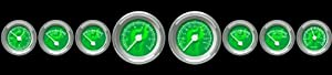 Aurora Instruments 5339 Assembled Fuel level Gauge - Ghost Flame Series - Green Face, White Modern Needles, Chrome Bezels