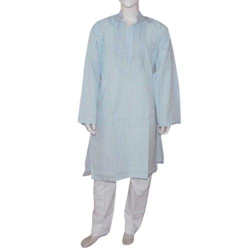 Indian Clothing Embroidered Cotton Kurta Pajama Chest : 112 Cms
