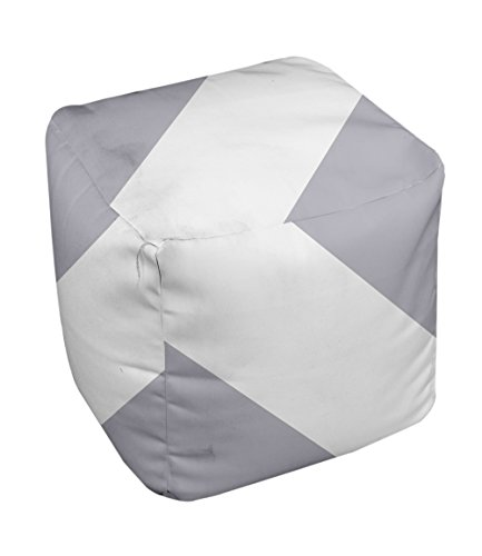 E by design Stripe Pouf, 13-Inch, 1Rain Cloud