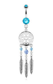 Gekko Body Jewellery Surgical Steel 14 Gauge (1.6mm) Aqua CZ Gem Belly Bar with Dreamcatcher Dangle