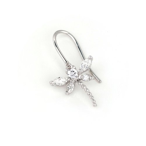 18K White Gold Marquise & Round Diamond Dragon Fly Single Earring (0.20cttw, G-H Color, VS2-SI1 Clarity)