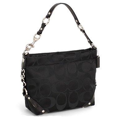 Coach Signature 24cm Sateen Carly Shoulder Bag Purse Tote Black