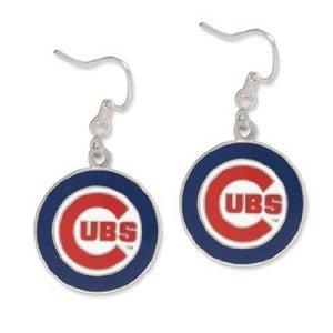[Logo Dangle Earrings - Chicago Cubs (Silver Tone)] (Cubs Fan Costume)