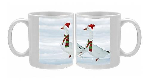 Photo Mug Of Domectic Geese - Two In Snow Wearing Christmas Hats A Scarves.Digital From Ardea Wildlife Pets front-1065254