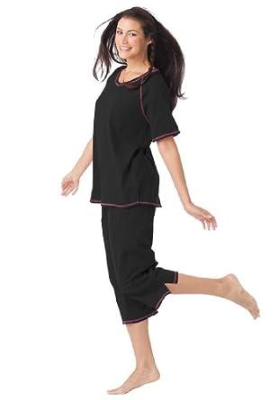 Dreams & Co Women's Plus Size Contrast-Stitched Knit Capri Pj Set Black