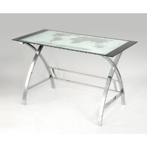 Buy Low Price Comfortable World Map Printing Curved X-Sided Computer Desk (B004IE7JDA)