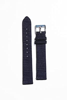 15mm Locman Blue Satin Watchband with Leather Lining