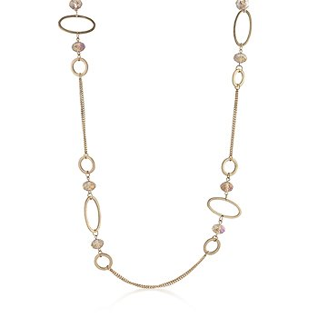 14k Worn Gold Bonded Double Strand Statement Necklace with Oval and Circle Shapes and Multi-faceted CZ Beads