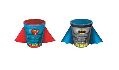 DC Comics Batman and Superman Uniform Logo Shot Glass with Cape (2 Piece Set)