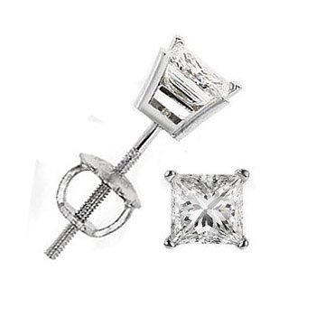 14K White Gold Princess Cut Four-Prong Diamond Stud Earrings ( 0.50 ct.tw, H-I Color, SI2-SI3 Clarity )