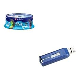 KITVER94488VER97086 - Value Kit - Verbatim Digital Vinyl CD-R Discs (VER94488) and Verbatim Classic USB 2.0 Flash Drive (VER97086)