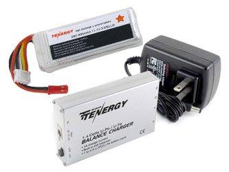 Combo: Tenergy 1-4 Cells Li-PO/Li-Fe Balance Charger with 11.1 volt 900mAh 25C Lipo Battery Pack