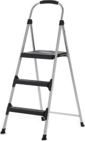 "Cosco - Aluminum Step Stool, 3-Step, 225Lb, 28 29/64"" Working Height, Platinum/Black 11411Abl1E (Dmi Ea front-982580"