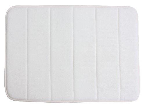 J & M Home Fashions Classic Memory Foam Bath Mat, 17 By 24-Inch, White