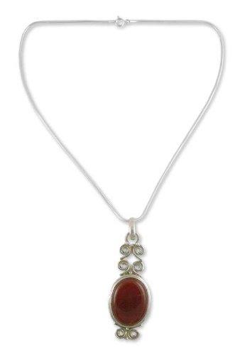 Carnelian necklace, 'Fiery Cloud'