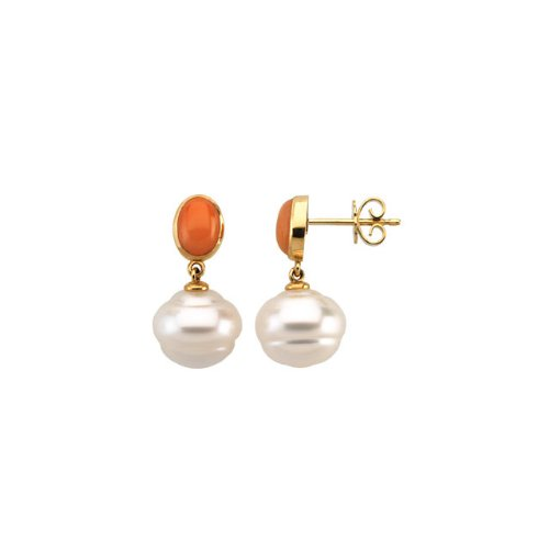 14K Yellow Gold - South Sea Cultured Pearl & Genuine Coral Earrings