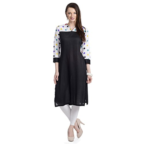 BLACK POLKA DOT PRINT COTTON LONG KURTI - B018P6JQL4