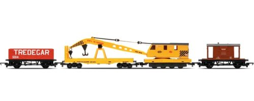 Hornby R6365 00 Gauge Breakdown Train: 20T Brake Van, Crane, LWB Open Railroad Rolling Stock