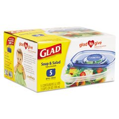 -- Gladware Soup And Salad Food Storage Containers, 24 Oz., 5/Pk, 6 Pks/Ctn