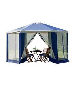 Hexagonal Garden Gazebo (H260, W400, D400cm) with Mesh Panels