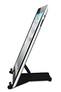 Adjustable iPad Stand Tablet Holder - Also Works With Samsung Galaxy Tab, Playbook, Xoom, Acer, Nook, Toshiba, Apple Mini and Other Tablets. Portable Fold-Up Universal Holder Good for Travel, Desk, Kitchen, Airplane - Black BrainyGadgets