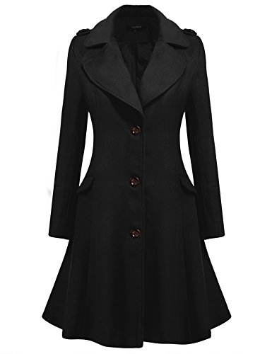 Zeagoo Women Lapel Single Breasted Wool Overcoat Long