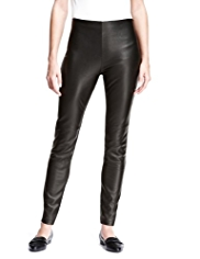 Autograph Slim Leg Leather & Ponte Jersey Knit Trousers