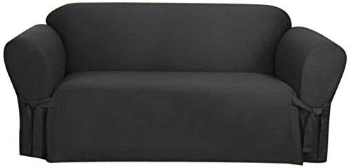 Sure Fit Cvc Canvas Sofa Slipcover, Black front-999211