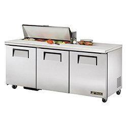 True Tssu-72-10 Sandwich Prep Table - 3 Doors, 19 Cu. Ft., Holds 10 Sixth-Size Pans