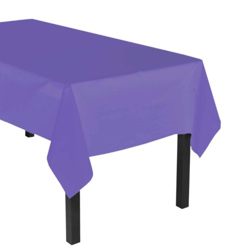 "Party Essentials Heavy Duty Plastic Table Cover, 54 x 108"", Royal Purple"