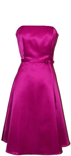 50&#8242;s Strapless Satin Formal Bridesmaid Prom Dress Holiday Gown, Small, Fuchsia