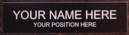 Office Desk Name Plate or Door Sign - Laser Engraved Signage Material - black (Custom Office Name Plates compare prices)