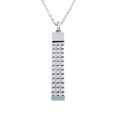 Women's Stainless Steel Rectangle Check Pendant Necklace , 18
