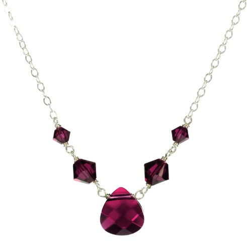 Sterling Silver Swarovski Elements Ruby Colored Briolette and Beads Necklace, 18