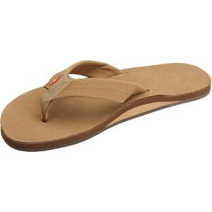 Rainbow Sandals Men Premium Leather Single Layer, Light Brown, Large (9.5-10.5)