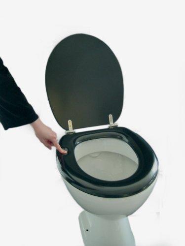 adob polsi soft wc sitz gepolstert mit edelstahlscharnieren schwarz 69501. Black Bedroom Furniture Sets. Home Design Ideas