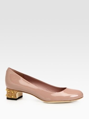 Gucci Women's Jacquelyne Nude Patent Leather Studded Cork Pump
