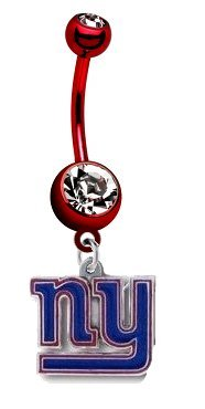 New York Giants NFL PREMIUM Red Titanium Anodized Sexy Belly Navel Ring at Amazon.com
