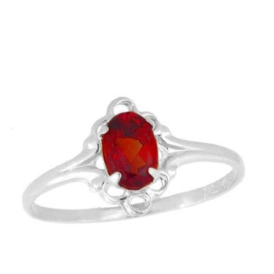Teens Jewelry - Sterling Silver July Birthstone Ring (size 4)