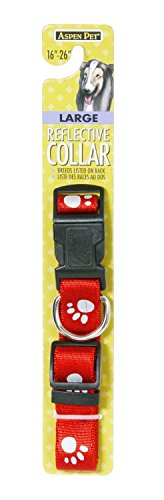 Artikelbild: Aspen Pet Reflective Paw Deluxe Dog Collar Thick Premium Nylon Red 5/8'X 10-16'