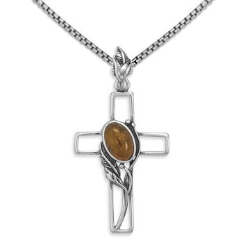 Oxidized Sterling Silver Cross with Vine Baltic Amber Pendant, Includes Box Chain