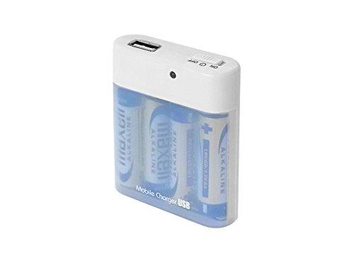 エアージェイ xportermobilecharger 単三乾電池式4本タイプ充電器 USB出力付き ホワイト BJ-USB